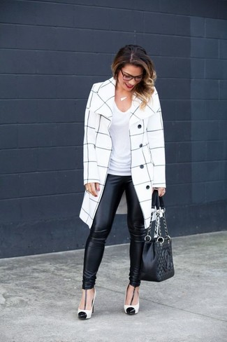 How to wear: white and black leather pumps, black leather leggings, white v-neck t-shirt, white and black check coat