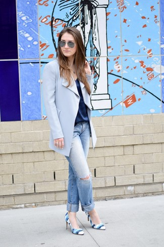 How to wear: blue print leather pumps, light blue ripped boyfriend jeans, navy silk tank, light blue coat