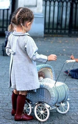How to wear: light blue coat, burgundy ballet flats, burgundy socks