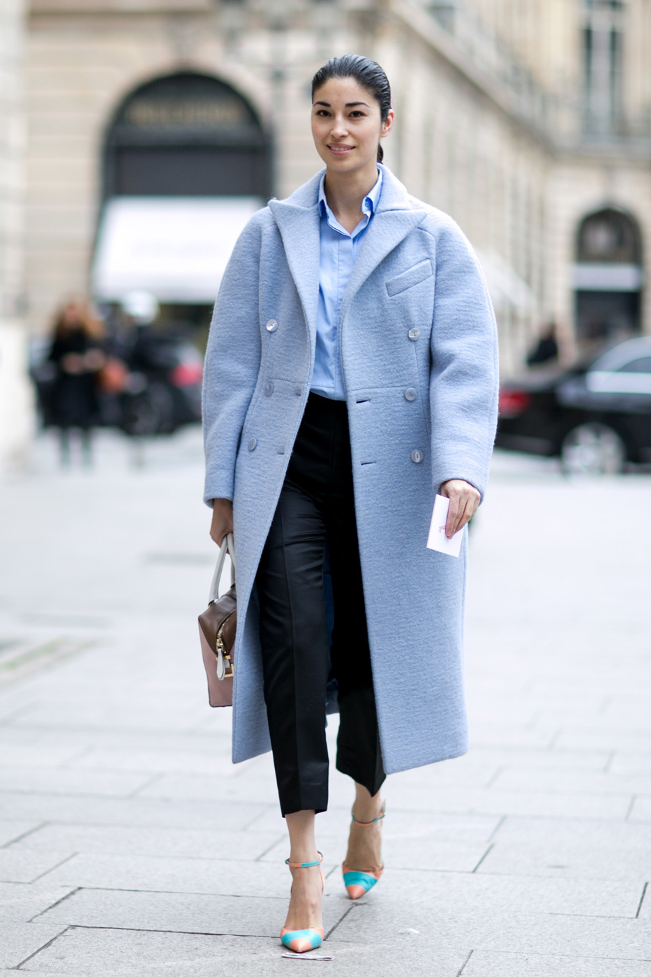 Women S Light Blue Coat Light Blue Dress Shirt Black Dress Pants