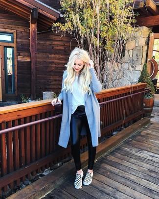 How to wear: light blue coat, white crew-neck t-shirt, black leather leggings, white and black check slip-on sneakers