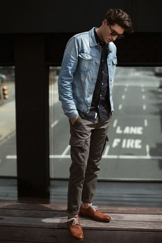 How to wear: light blue denim jacket, black long sleeve shirt, charcoal cargo pants, brown leather derby shoes