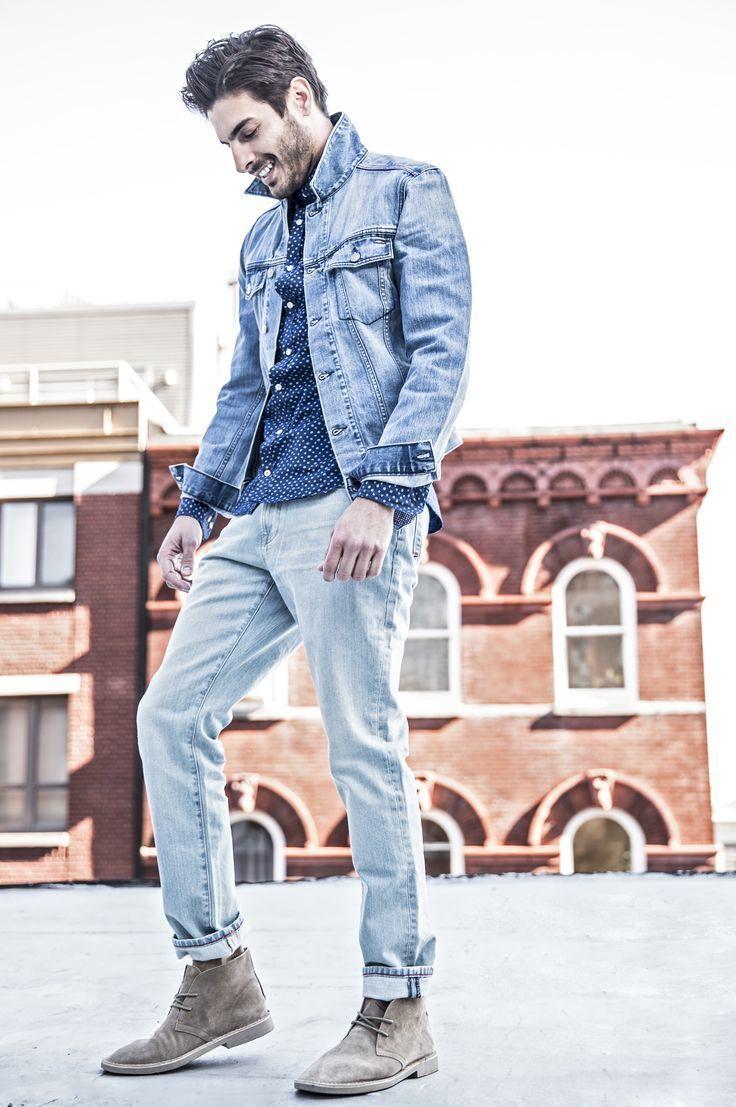 Men's Light Blue Denim Jacket, Blue Polka Dot Long Sleeve Shirt, Light Blue  Jeans, Grey Suede Desert Boots   Men's Fashion