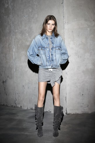 How to wear: light blue denim jacket, grey bodycon dress, charcoal suede knee high boots