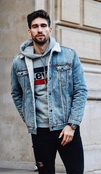 Men S Light Blue Denim Jacket Grey Print Hoodie Black Ripped
