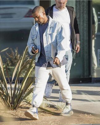 Kanye West wearing Light Blue Denim Jacket, Navy Crew-neck T-shirt, White Sweatpants, Grey High Top Sneakers