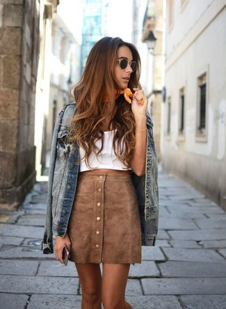 Outerwear and a tan suede button skirt are a great outfit formula to have in your arsenal. As you imagine, this is also a kick-ass option when warmer days are here.