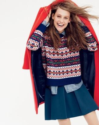 How to wear: navy skater skirt, light blue denim shirt, navy fair isle crew-neck sweater, red coat