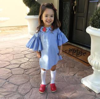 How to wear: light blue dress, red ballet flats, white socks