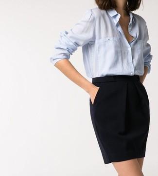 Light blue dress shirt black pencil skirt large 16982