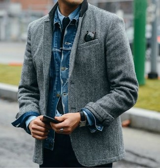 How to wear: navy knit tie, light blue dress shirt, grey herringbone wool blazer, blue denim jacket