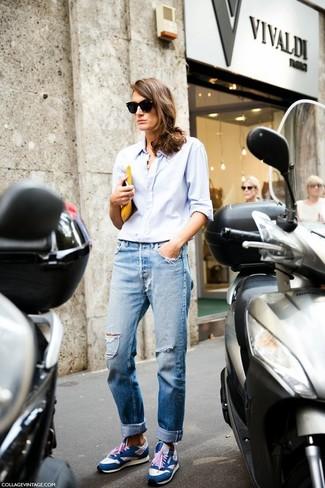 How to wear: light blue dress shirt, light blue ripped boyfriend jeans, blue athletic shoes, black sunglasses