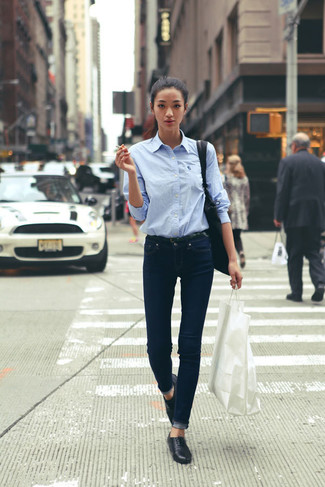 How to wear: light blue dress shirt, navy jeans, black loafers, black crossbody bag