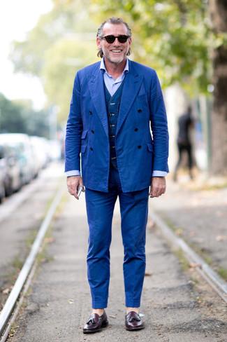 How to wear: dark purple leather tassel loafers, light blue dress shirt, navy denim waistcoat, blue suit