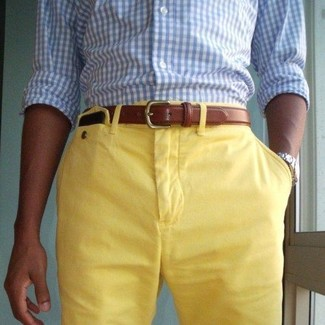 How to wear: light blue gingham long sleeve shirt, yellow shorts, brown leather belt