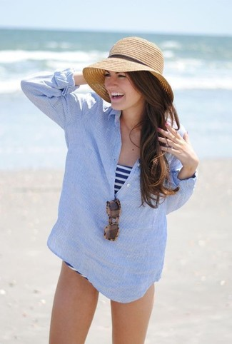 How to wear: light blue vertical striped henley shirt, white and navy horizontal striped swimsuit, khaki straw hat, brown leopard sunglasses