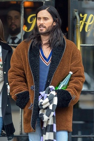 How to wear: light blue jeans, blue horizontal striped v-neck sweater, brown fur coat