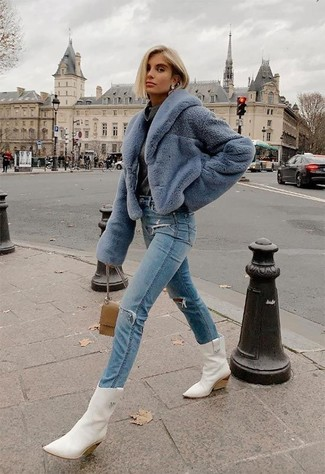 Fashion for 30 Year Old Women: What To Wear: For an off-duty ensemble, make a light blue fur jacket and light blue ripped jeans your outfit choice — these two pieces fit well together. If you need to instantly dress down your ensemble with one single piece, why not add a pair of white leather cowboy boots?