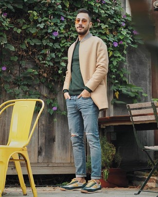 How to wear: dark green low top sneakers, light blue ripped jeans, dark green crew-neck sweater, camel overcoat