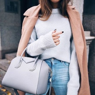 How to wear: grey leather tote bag, light blue jeans, grey oversized sweater, camel coat