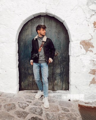 How to wear: white athletic shoes, light blue jeans, grey turtleneck, black shearling jacket