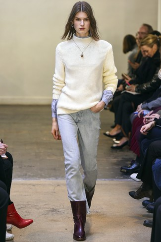 How to wear: burgundy leather ankle boots, light blue jeans, light blue dress shirt, white knit wool turtleneck