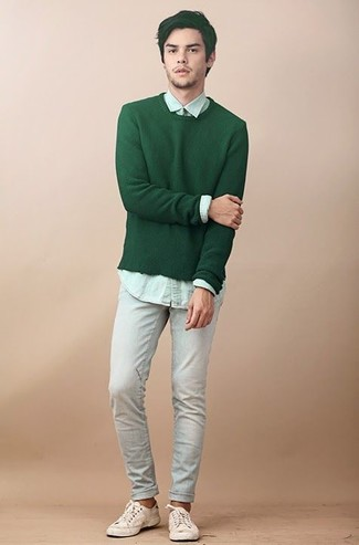 How to wear: beige canvas low top sneakers, light blue jeans, mint dress shirt, green crew-neck sweater