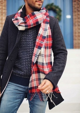 Men's Looks & Outfits: What To Wear In Spring: Try teaming a charcoal pea coat with light blue jeans for effortless refinement with a masculine spin. So if you're on the lookout for an outfit that's seriously stylish but also feels totally season-appropriate, this one fits the task well.