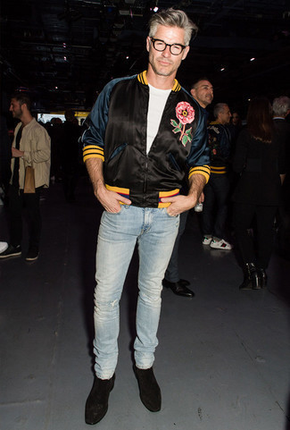 How to Wear Pants For Men: Consider teaming a black embroidered satin bomber jacket with pants to get a relaxed casual and stylish look. If you need to easily up the style ante of this ensemble with shoes, why not complete this outfit with black suede chelsea boots?