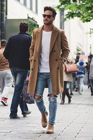 a7986c4a6ed How To Wear Light Blue Jeans With Tan Chelsea Boots For Men (17 ...