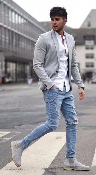 04410923405b How to wear: grey suede chelsea boots, light blue ripped jeans, white dress