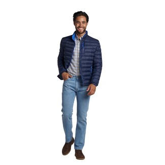 How to wear: dark brown leather desert boots, light blue jeans, white plaid long sleeve shirt, navy puffer jacket