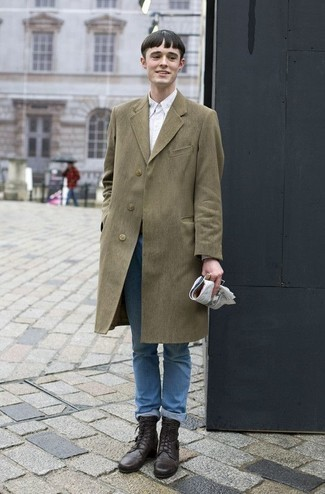 Teen Boy Fashion: What To Wear: This ensemble with an olive overcoat and light blue jeans isn't super hard to assemble and leaves room to more creative experimentation. On the footwear front, this look is rounded off well with dark brown leather casual boots. Think it's hard for adolescents to nail semi-casual looks? This combo is undeniable proof of otherwise.