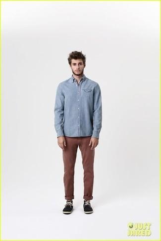 Light blue long sleeve shirt dark brown chinos black suede desert boots large 1824