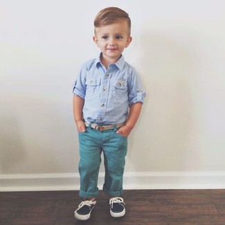 How to wear: light blue long sleeve shirt, teal jeans, navy boat shoes