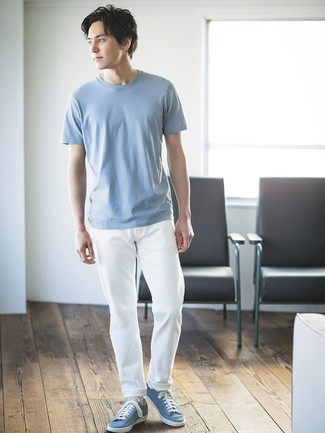 How to wear: light blue low top sneakers, white chinos, light blue crew-neck t-shirt
