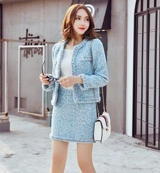 How to wear: white leather crossbody bag, light blue tweed mini skirt, white crew-neck t-shirt, light blue tweed jacket