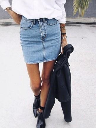 How to wear: black leather ankle boots, light blue denim mini skirt, white dress shirt, black leather biker jacket