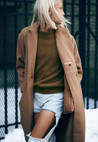 How to wear: light blue ripped boyfriend jeans, olive crew-neck sweater, camel coat