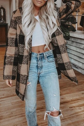 How to wear: light blue ripped jeans, white cropped top, brown check coat