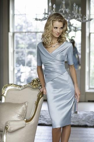 Women's Light Blue Satin Sheath Dress, Silver Leather Clutch, Silver Necklace