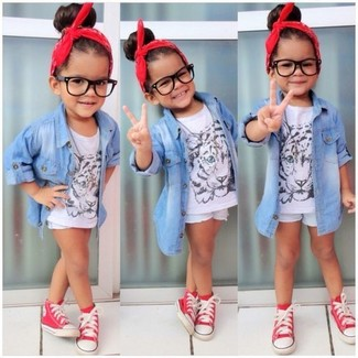 How to Wear Red Sneakers For Girls: Busy days call for a simple yet stylish outfit for your little fashionista, such as a light blue denim long sleeve shirt and light blue denim shorts. Red sneakers are a wonderful choice to round off this getup.