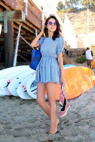 How to wear: light blue skater dress, hot pink canvas wedge sandals, blue leather tote bag, hot pink sunglasses