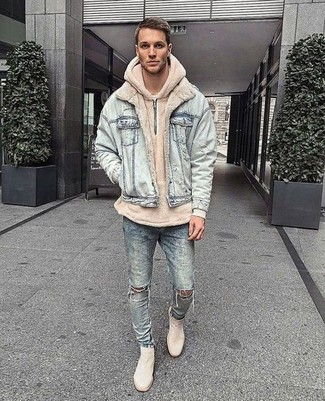 0875c4597bd How to Wear a Beige Hoodie For Men (24 looks   outfits)