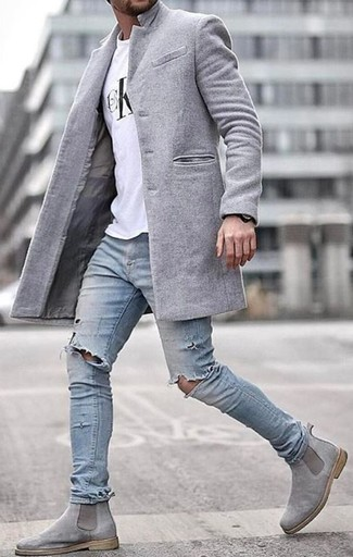 hoard as a rare commodity release date: arrives Men's Grey Suede Chelsea Boots, Light Blue Ripped Skinny ...