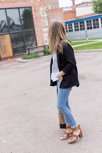 How to wear: brown leather heeled sandals, light blue skinny jeans, white lace short sleeve blouse, black blazer