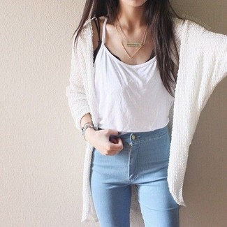 How to wear: light blue skinny jeans, white tank, white knit open cardigan