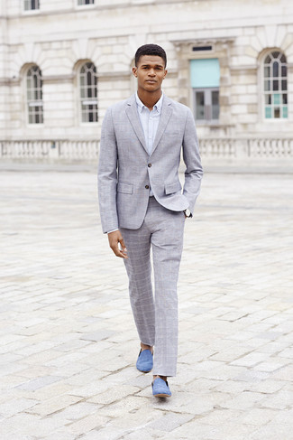 How to Wear Light Blue Suede Loafers For Men: Combining a grey plaid suit and a white dress shirt is a surefire way to infuse your current routine with some manly sophistication. Look at how great this look pairs with a pair of light blue suede loafers.