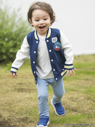 Boys' Blue Sneakers, Light Blue Sweatpants, White T-shirt, Navy Bomber Jacket