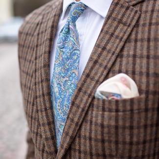 How to wear: beige print pocket square, light blue paisley tie, white dress shirt, brown check wool blazer